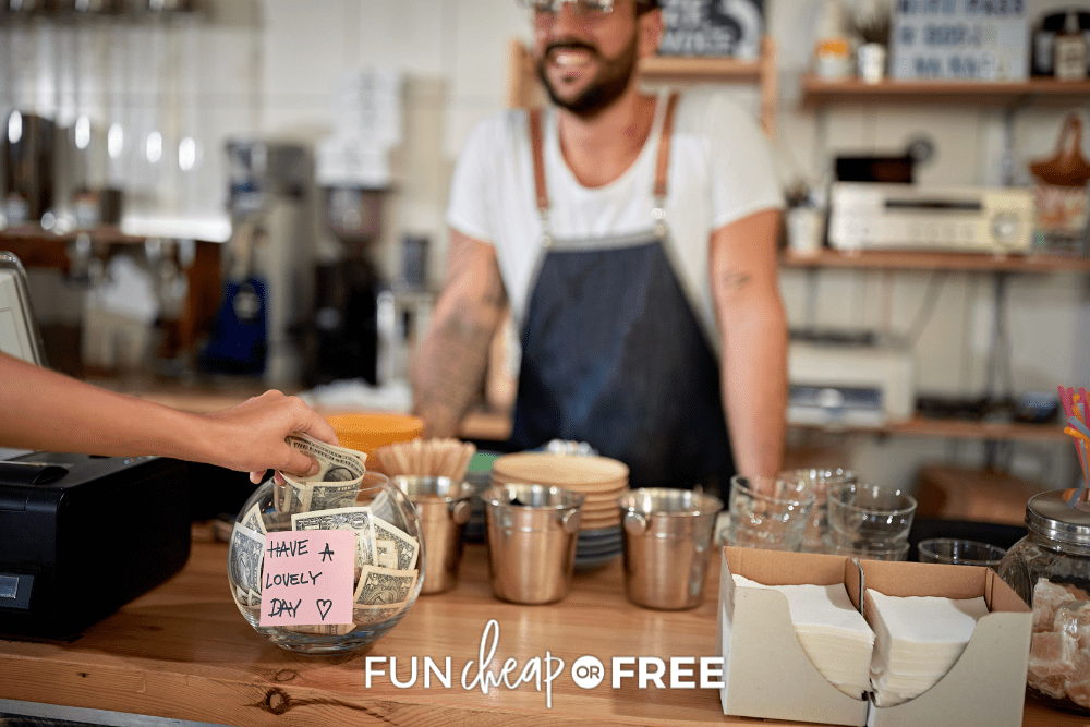 how much to tip a barista with a tip jar from Fun Cheap or Free