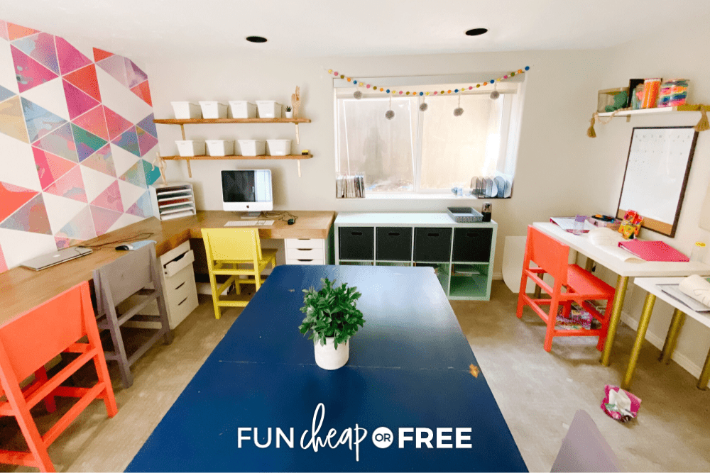 Table, chairs, and shelves, showing how to start homeschooling in a dedicated space from Fun Cheap or Free