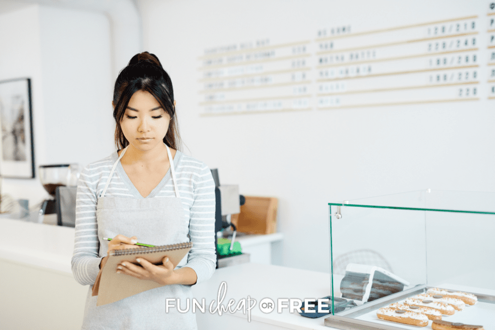teenage girl working in a coffee shop, from Fun Cheap or Free