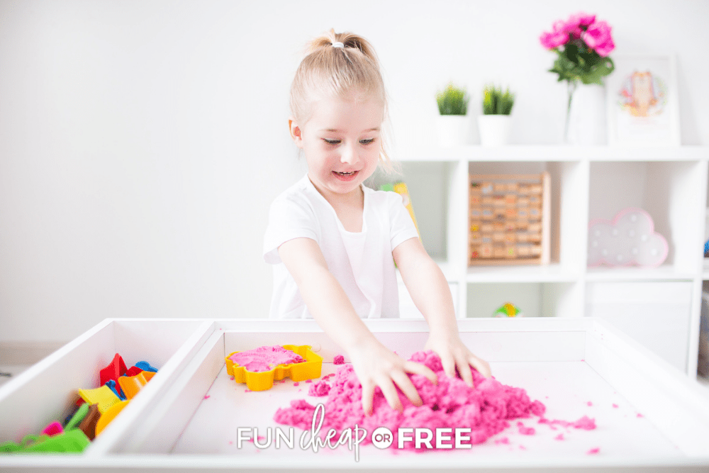 little girl playing with kinetic sand, from Fun Cheap or Free
