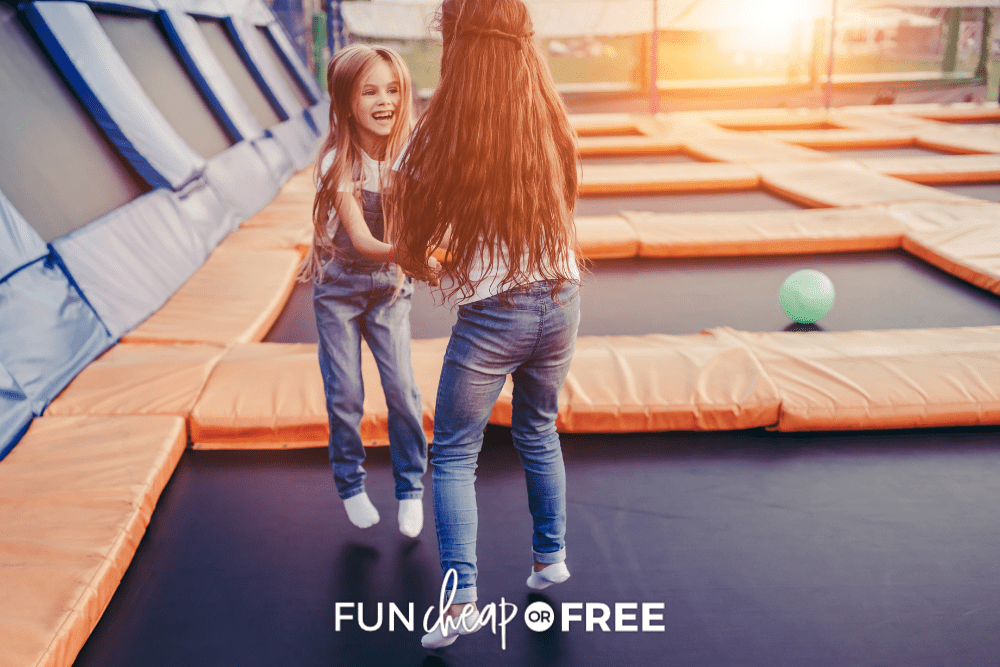 two girls playing at a trampoline park from FunCheaporFree.com