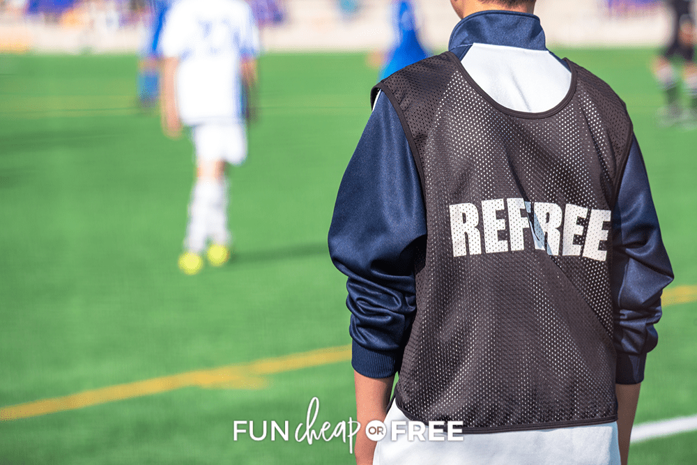 referee at a soccer game, from Fun Cheap or Free