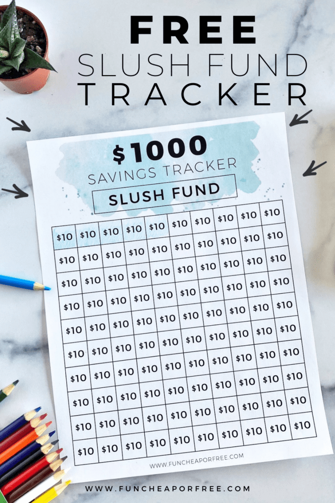 Slush fund tracker printable, from Fun Cheap or Free