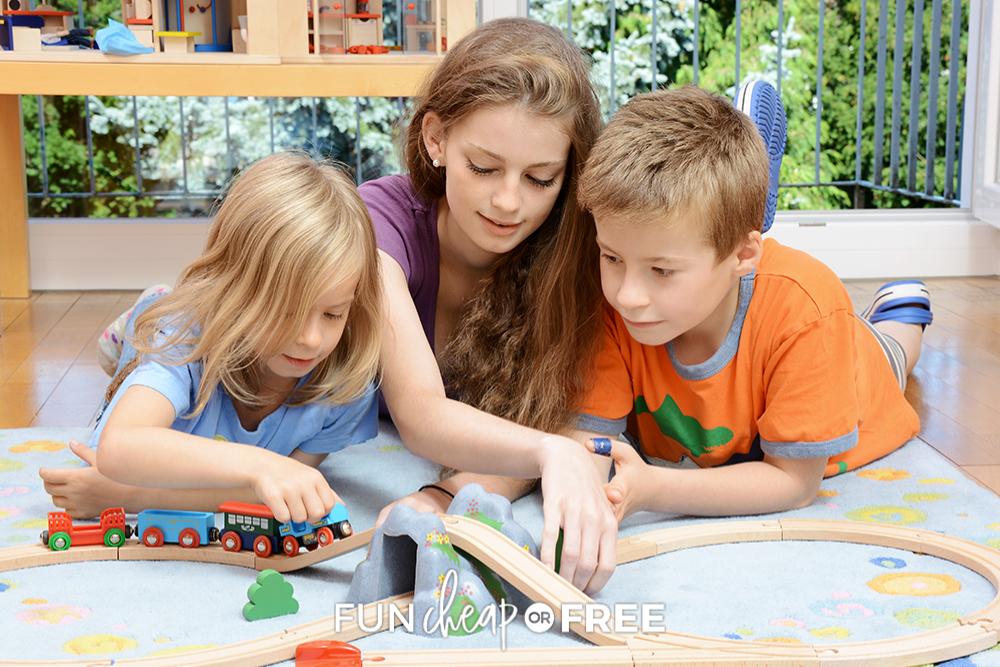 teenage girl babysitting two kids, from Fun Cheap or Free