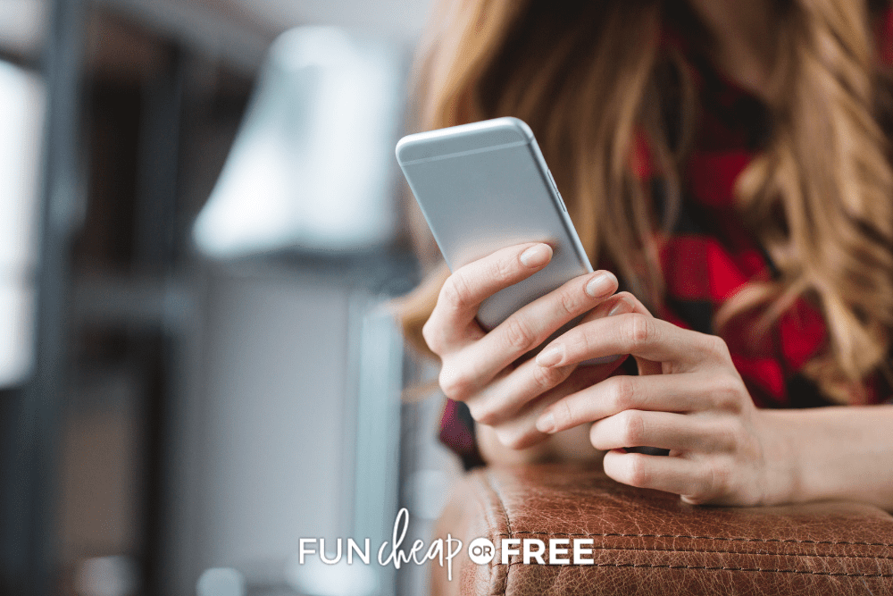 woman in buffalo check plaid shirt shopping on cell phone, from Fun Cheap or Free