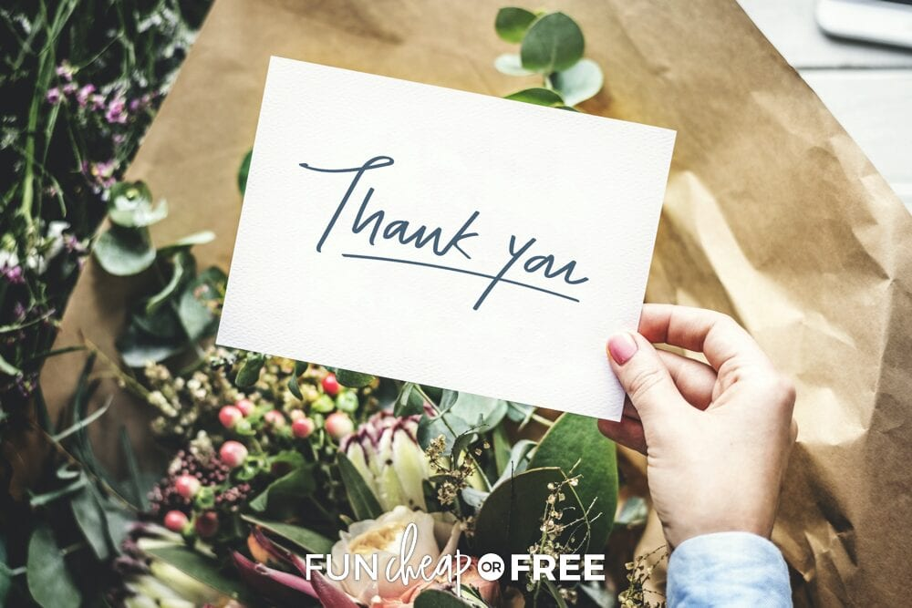Hand holding thank you note, from Fun Cheap or Free