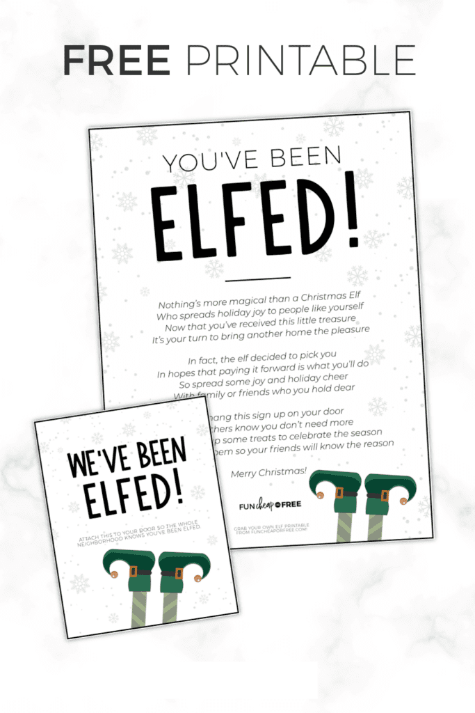 a picture of free you've been elfed printable, from Fun Cheap or Free