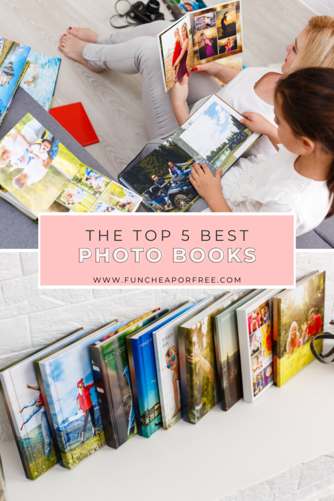 """Image with text that reads """"the top 5 best photo books"""", from Fun Cheap or Free"""