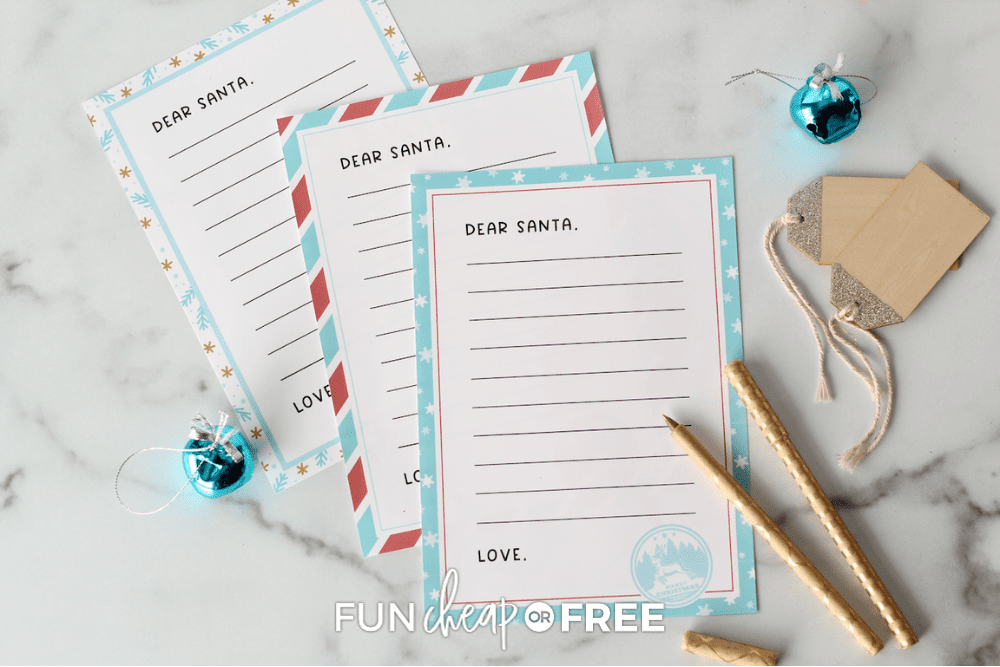 three pages of letter to santa printable from Fun Cheap or Free