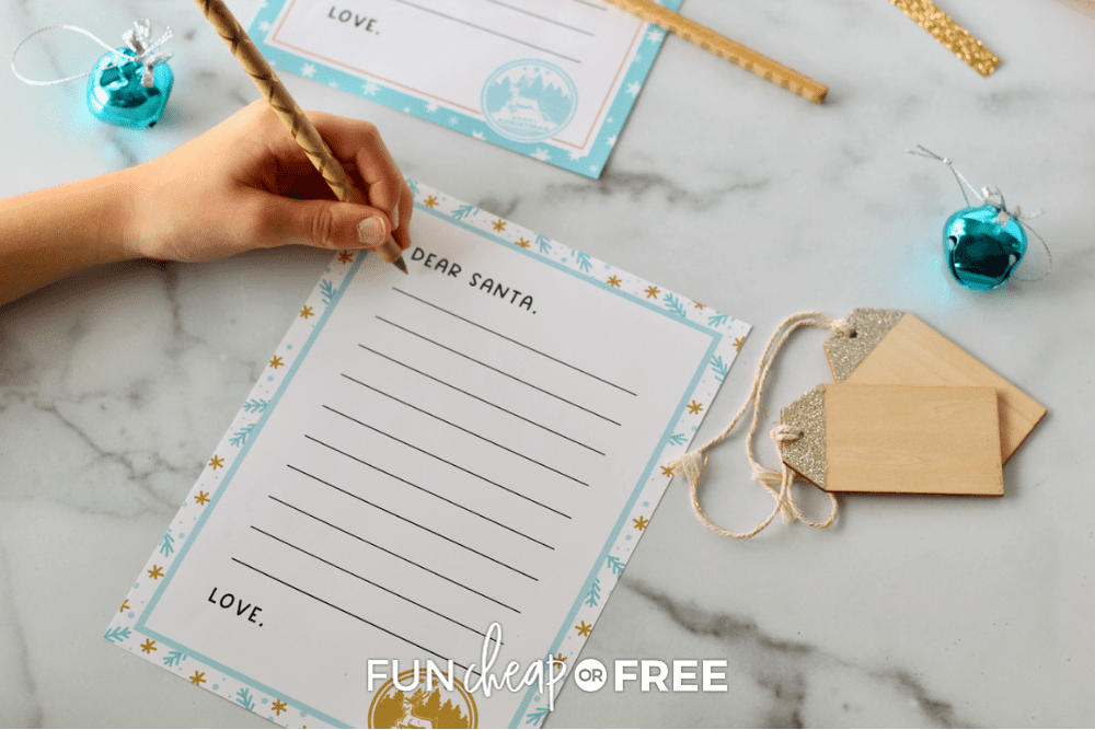 free letter to santa printable from Fun Cheap or Free