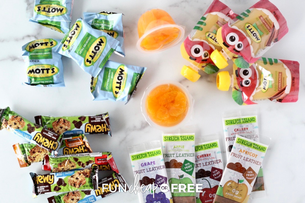 a variety of kid's snacks on the counter, from Fun Cheap or Free