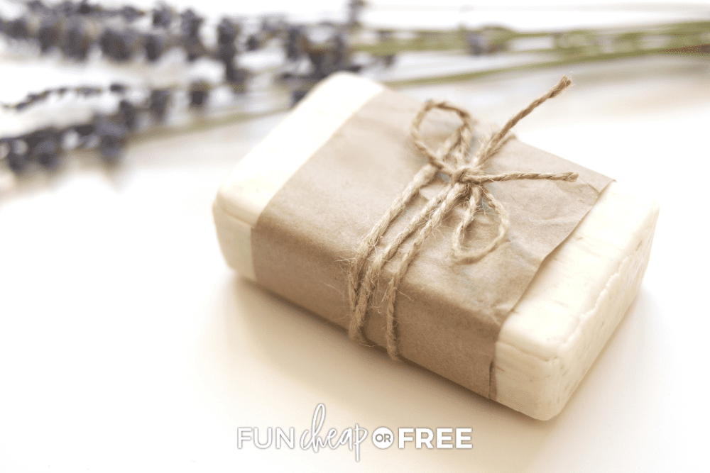 homemade soap wrapped in twine, from Fun Cheap or Free