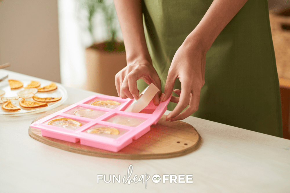 woman making soap in molds, from Fun Cheap or Free