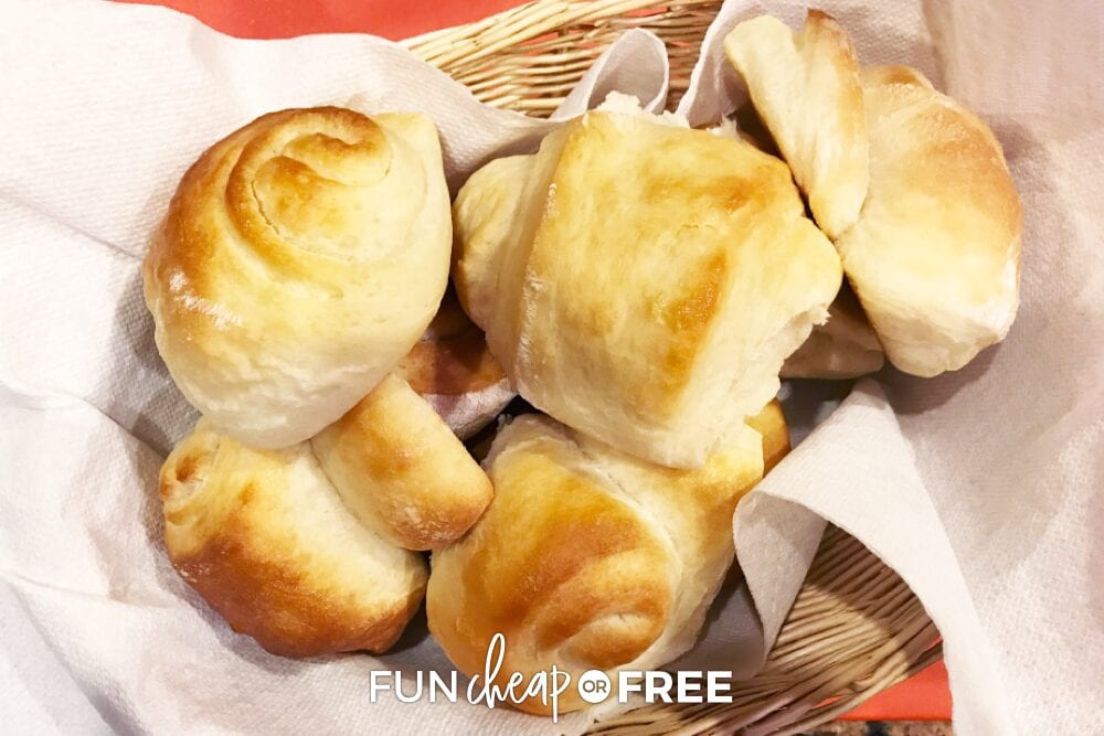 honey butter rolls in a basket from Fun Cheap or Free
