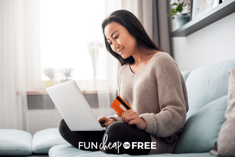 woman holding credit card while shopping online, from Fun Cheap or Free
