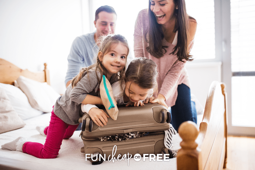 family with kids packing for vacation, from Fun Cheap or Free