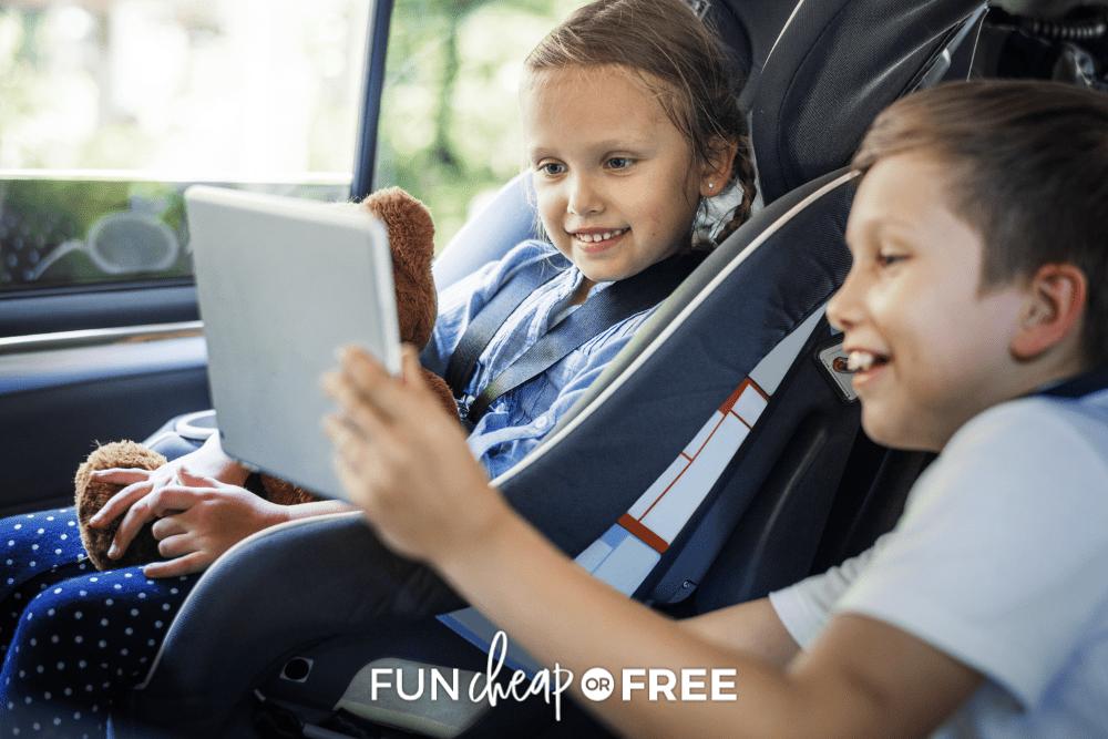 kids using iPad in the car, from Fun Cheap or Free