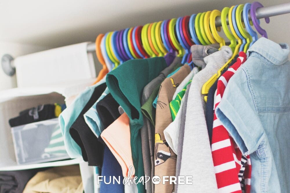children's clothing on hangers, from Fun Cheap or Free