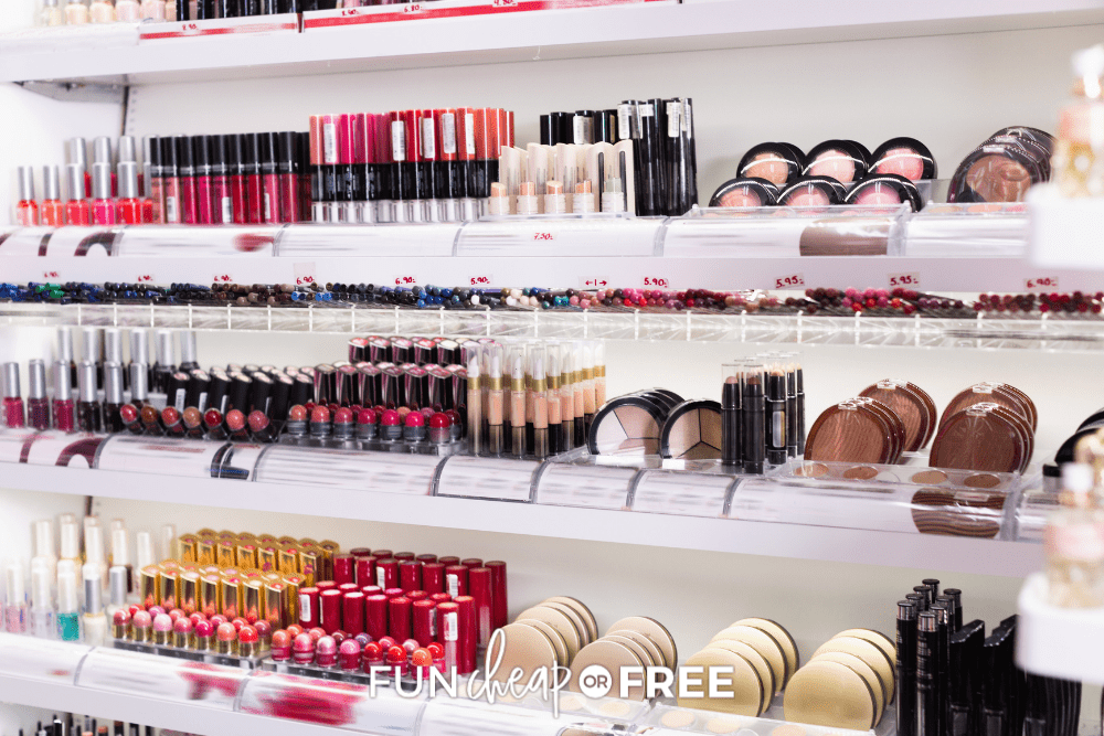 racks of makeup at cosmetics store, from Fun Cheap or Free