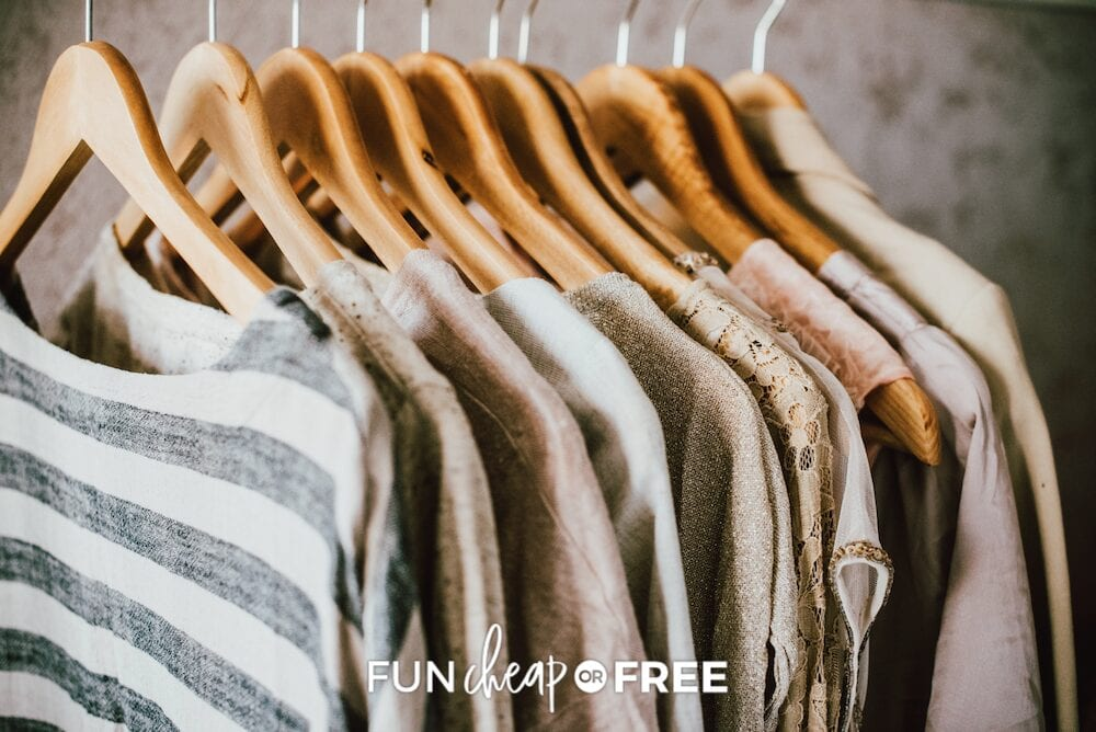 women's clothing on hangers, from Fun Cheap or Free
