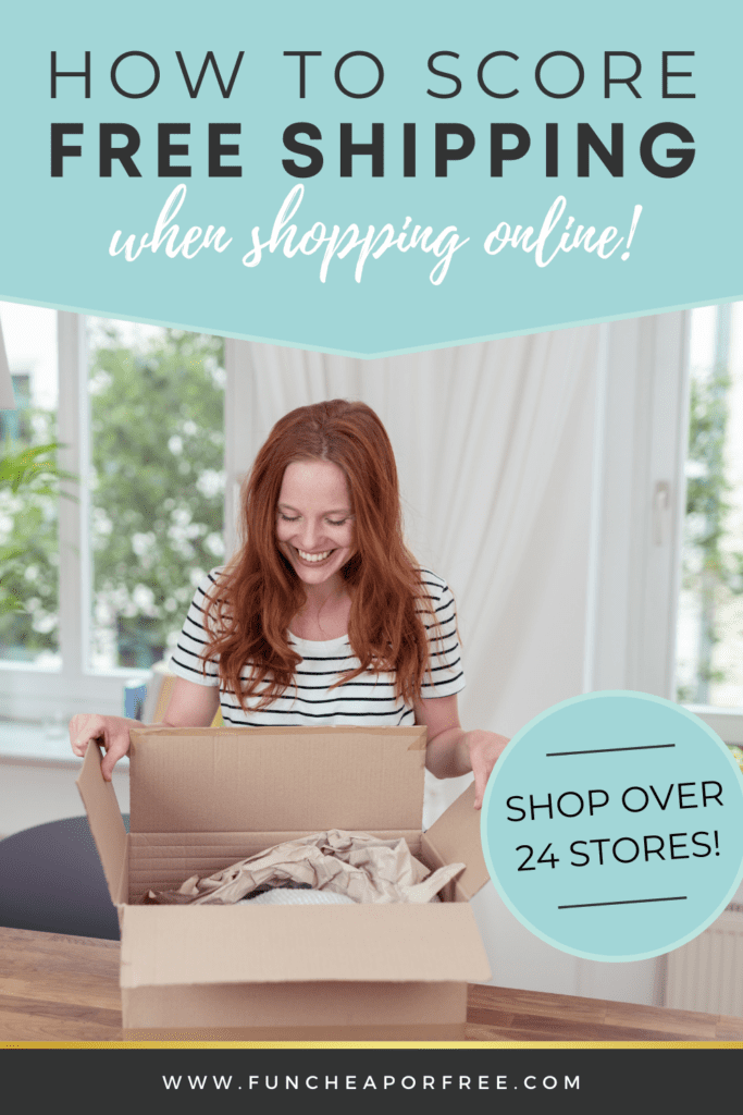 """Image with text that reads """"how to score free shipping when shopping online"""" from Fun Cheap or Free"""