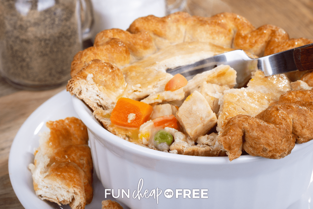 a white bowl of pot pie, from Fun Cheap or Free