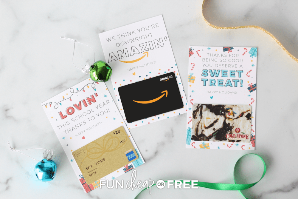 3 gift cards on countertop, from Fun Cheap or Free