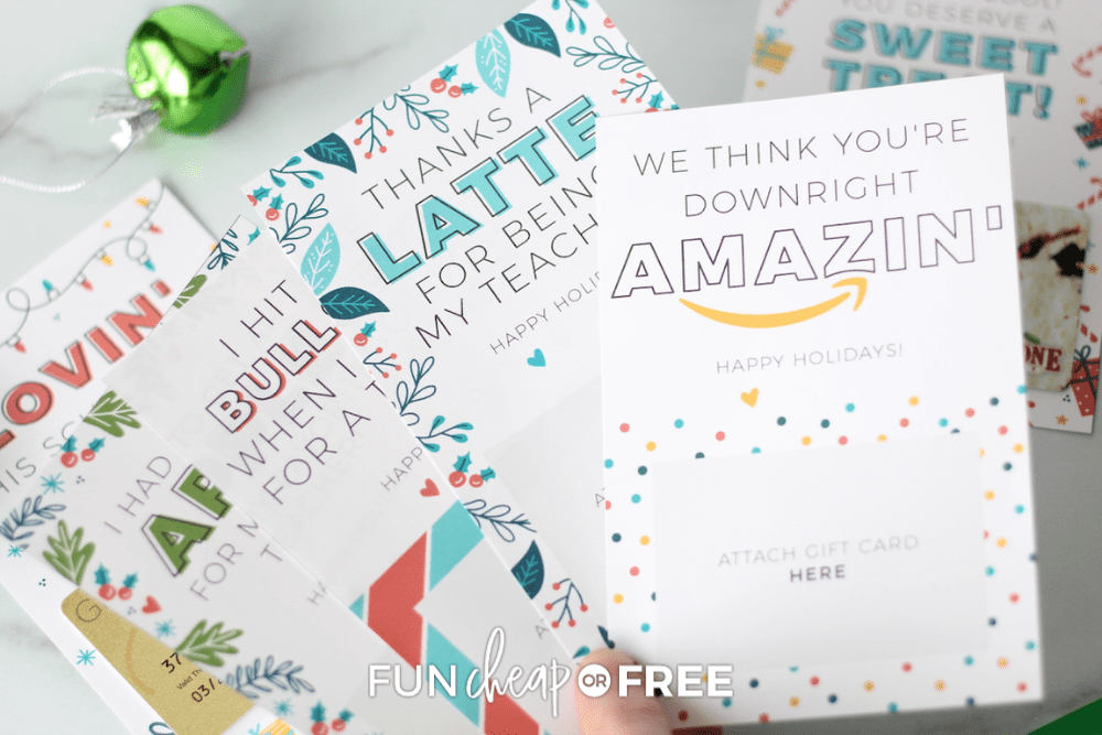 gift card printables for teachers, from Fun Cheap or Free