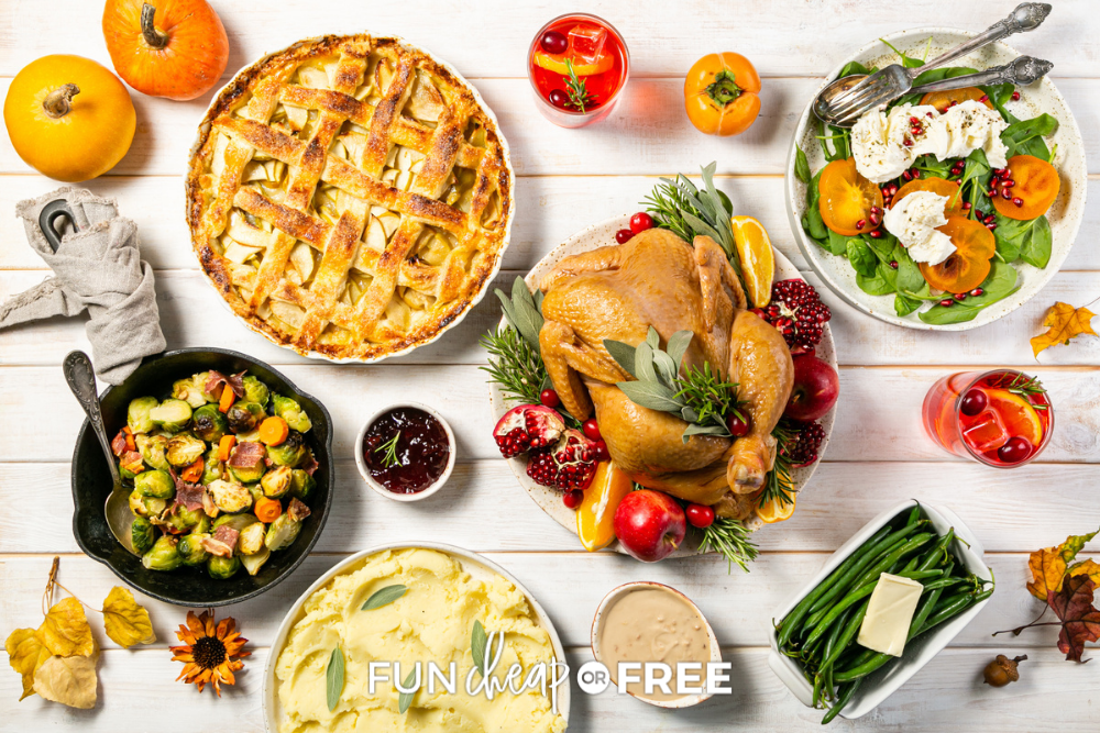 Thanksgiving dinner recipe ingredients on a table, from fun cheap or free