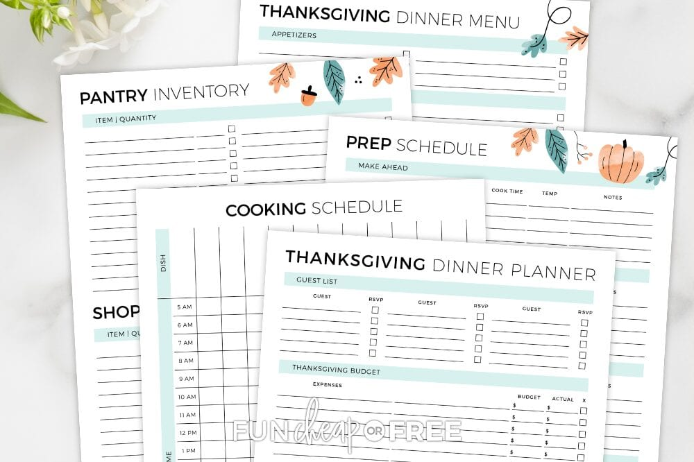 Thanksgiving dinner printables, from Fun Cheap or Free