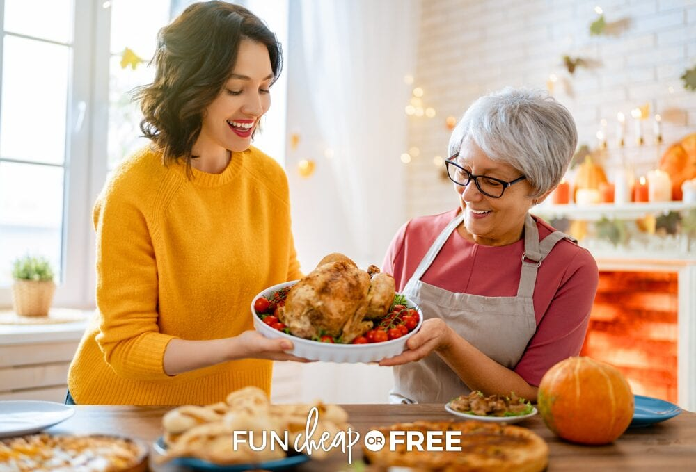 Mother and daughter preparing Thanksgiving dinner recipes, from Fun Cheap or Free