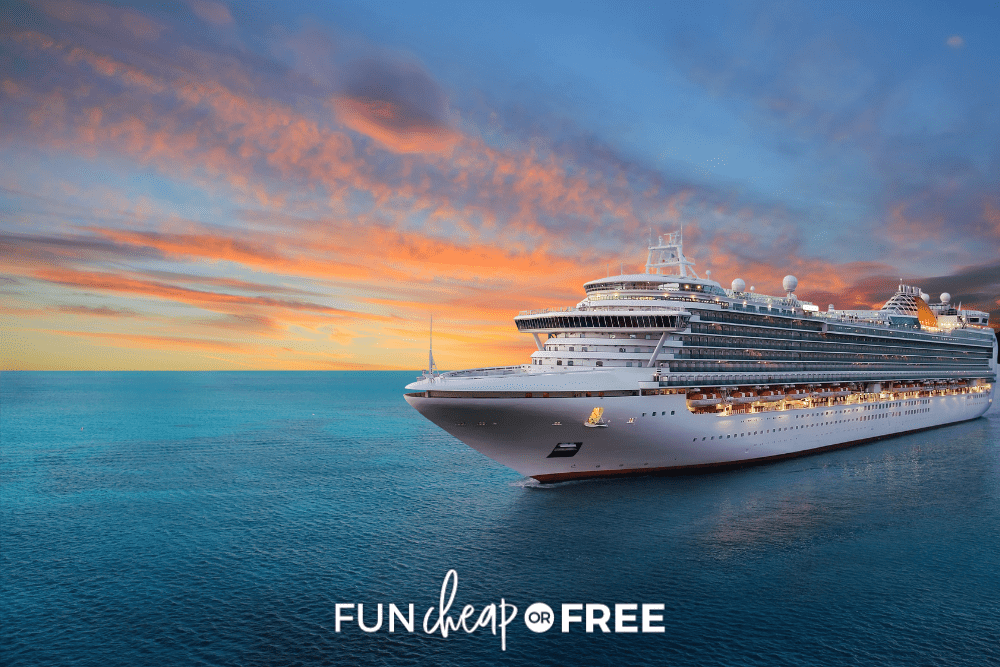 cruise ship on the water with a sunset background, from Fun Cheap or Free