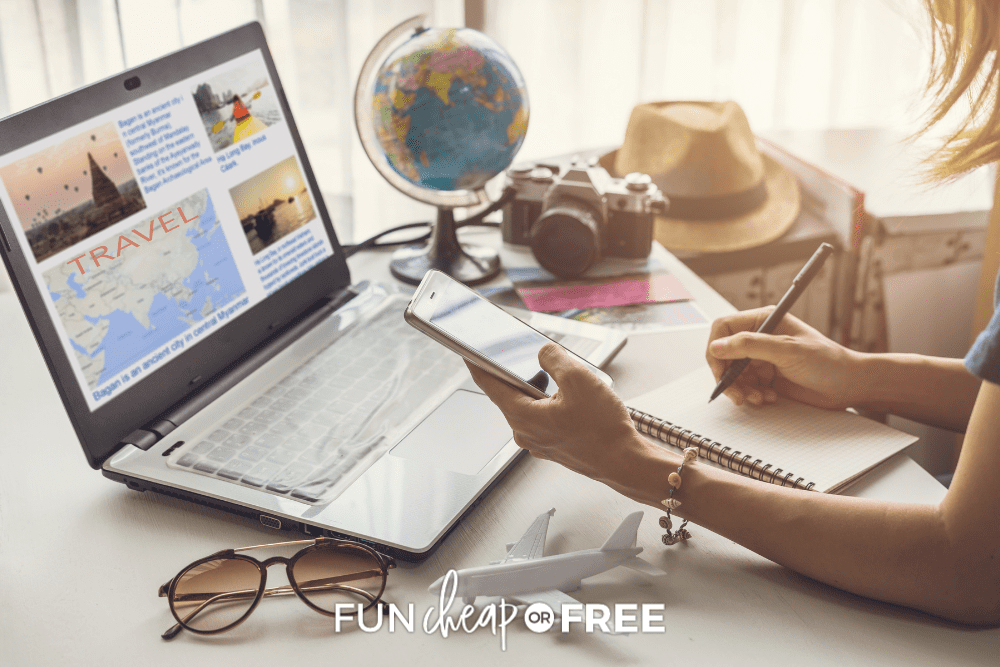 woman using laptop to book travel, from Fun Cheap or Free