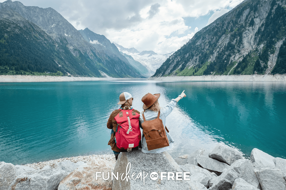 young couple backpacking at mountain lake, from Fun Cheap or Free