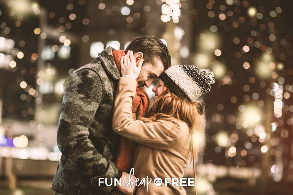 Couple hugging outside during the winter, from Fun Cheap or Free