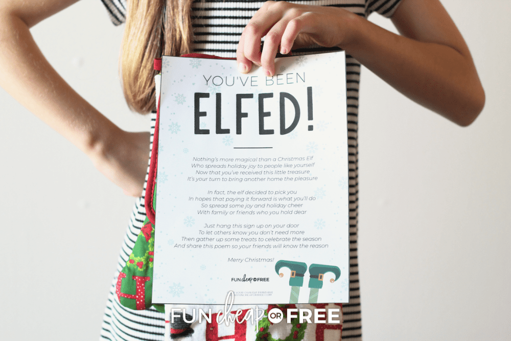 girl holding you've been elfed printable, from Fun Cheap or Free