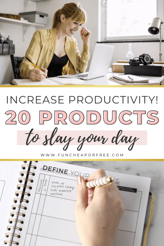 """Image with text that reads """"increase productivity! 20 products to slay your day,"""" from Fun Cheap or Free"""