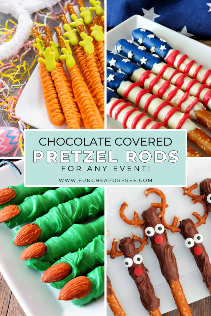 Various holiday-theme chocolate-covered pretzel rods, from Fun Cheap or Free