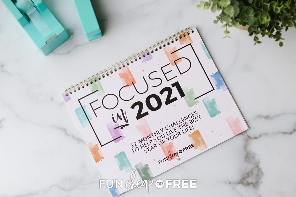 Focused in 2021 calendar and challenges on a counter, from Fun Cheap or Free