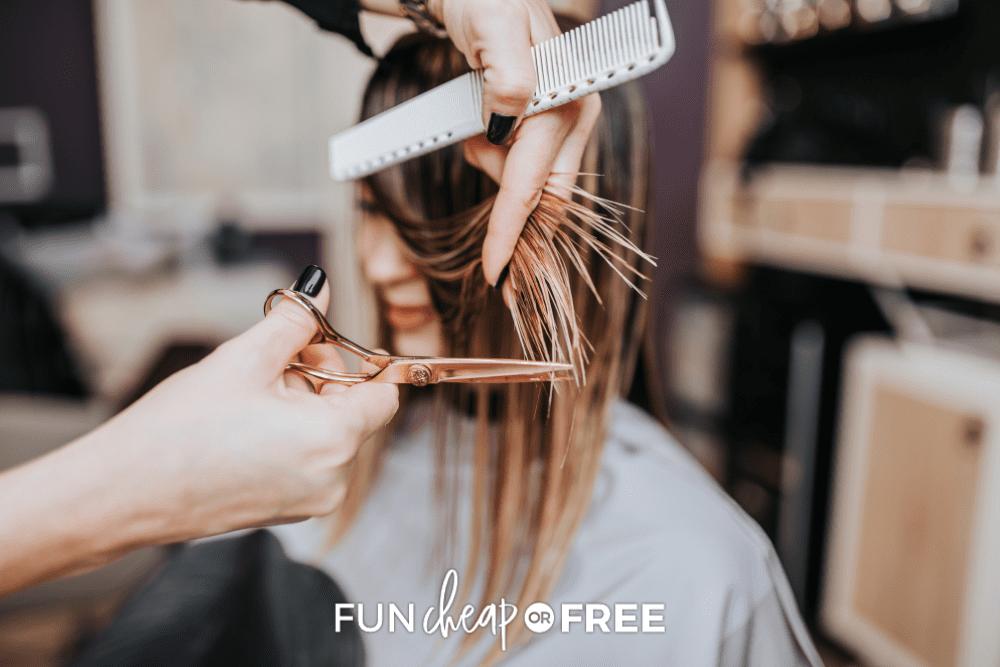 woman getting a haircut, from Fun Cheap or Free