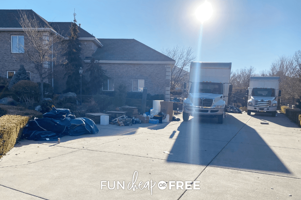 moving trucks parked in a driveway, from Fun Cheap or Free