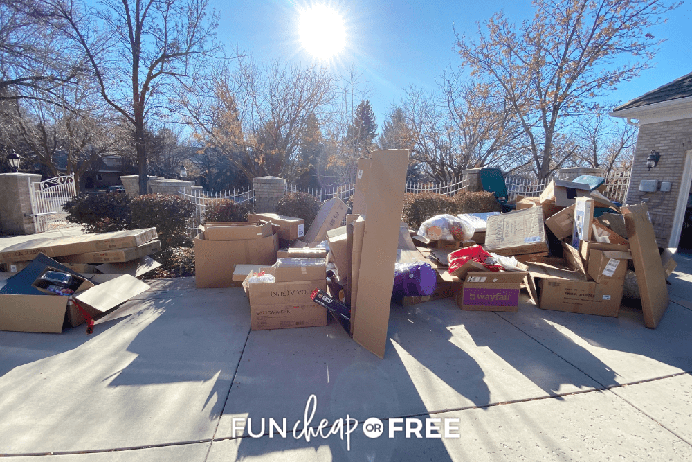 a driveway full of boxes, from Fun Cheap or Free