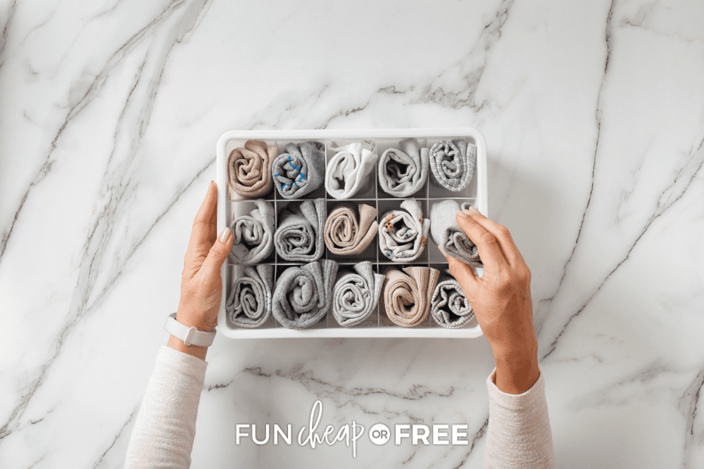 woman organizing socks, from Fun Cheap or Free