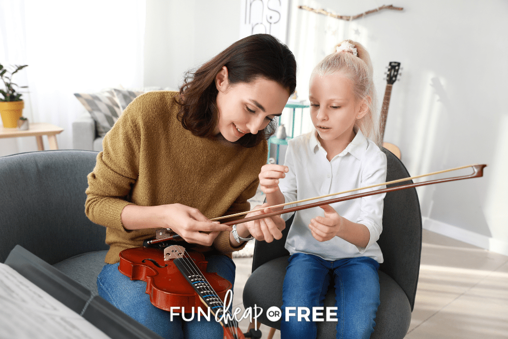 little girl and mom with violin, from Fun Cheap or Free