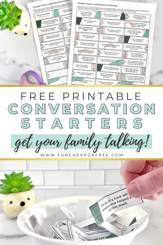 free conversation starters printable, from Fun Cheap or Free