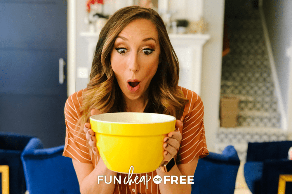 woman holding a big yellow bowl, from Fun Cheap or Free