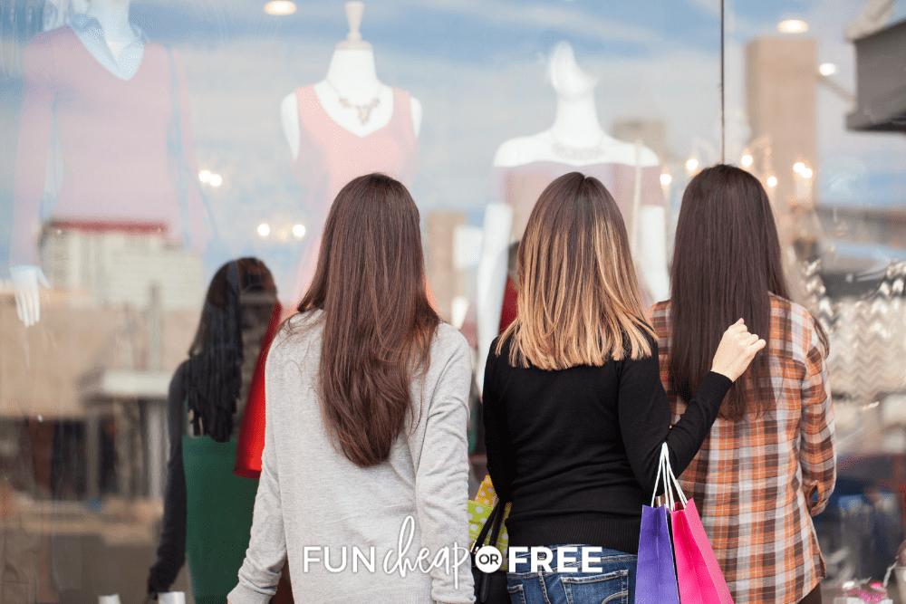 women window shopping, from Fun Cheap or Free