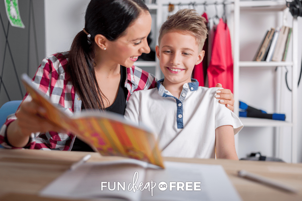 mother encouraging son while he reads, from Fun Cheap or Free