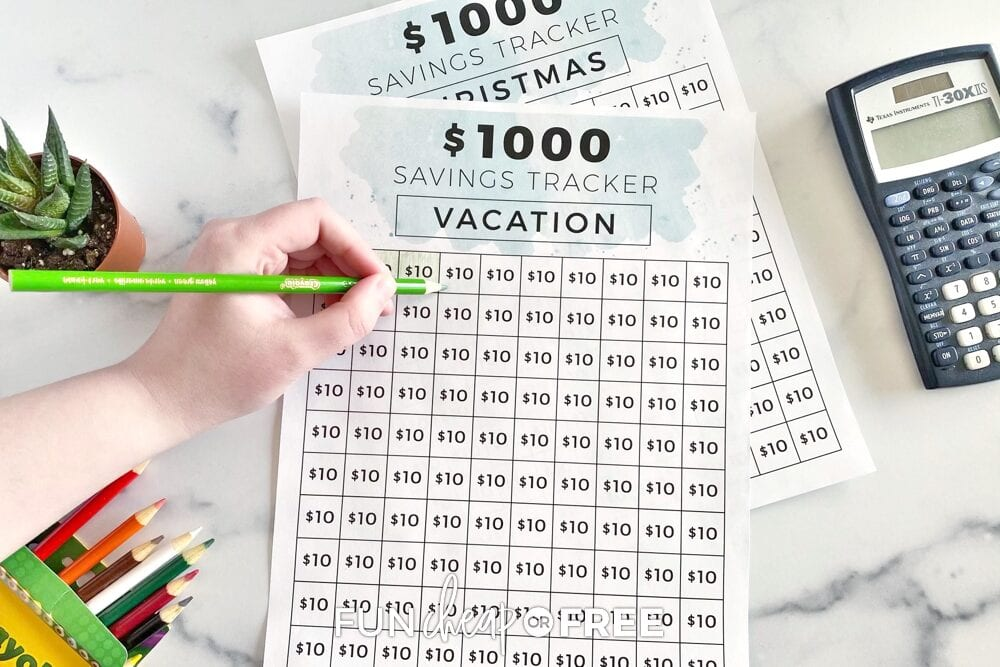 hand coloring in money saving chart, from Fun Cheap or Free