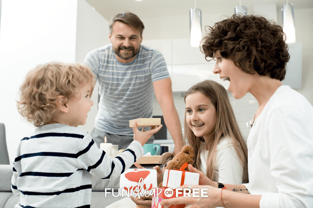 family celebrating Valentine's Day, from Fun Cheap or Free